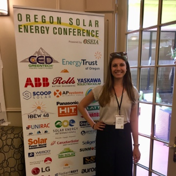 Ashley at Oregon Solar Energy Conference in May 2019