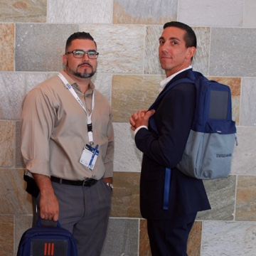 Steely look to model our EnergeiaWorks solar backpacks